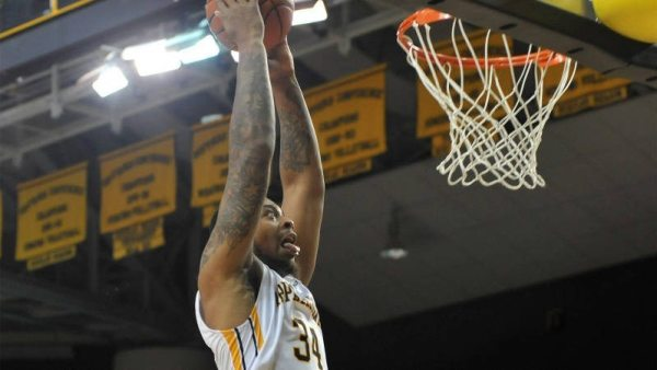 Jacob Lawson (above) threw down an emphatic dunk late in the second half of Appalachian State's 76-67 win over Georgia State on Thursday evening at the Holmes Center. Courtesy: DCMayo (Appalachian, '83)