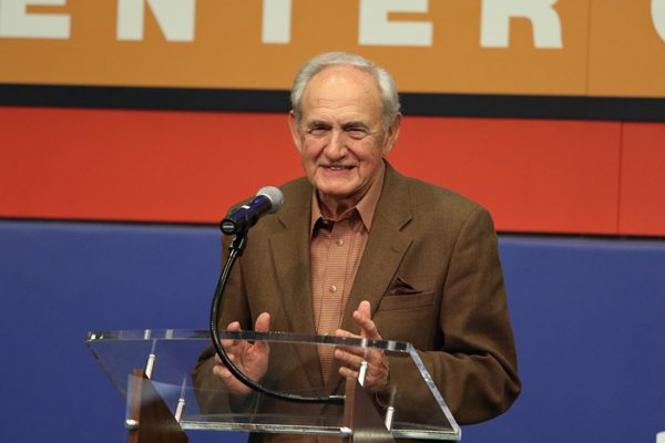 Hugh Durham makes his acceptance speech at the 2016 Collegiate Basketball Hall of Fame enshrinement ceremony. Photo by Mike Mobley, Sports Communications Director for Basketball, University of Georgia
