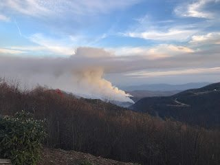 Looking over fire from Blue Ridge Mountain Club entrance 5:00 PM 11/22/16