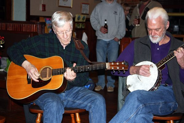 Tom Pillion of Banner Elk with his 1964 Martin D-28 and Bill Young of Blowing Rock with his 1921 Gibson open-back banjo
