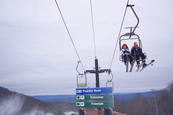 Two women ride the lift up to the top of Beech on Friday, early afternoon. Photo by Kristian Jackson