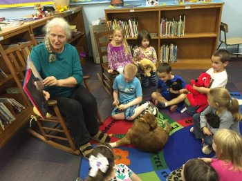 Ms. Jay Ishaya reads to students in the media center. Submitted by Bethel School.