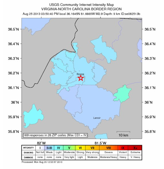Intensity Map of Aug. 25 earthquake courtesy of U.S.G.S.