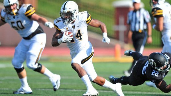 Marcus Cox rumbled for 133 yards on 18 carries and an impressive three touchdowns in the Apps home-opening 31-7 victory over ODU at Kidd Brewer Stadium. Courtesy: David Scearce / App State Sports