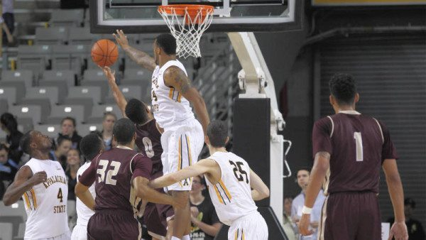 Jacob Lawson and the Mountaineers limited Texas State to just 10 field goals in each half of Saturday's 76-56 romp over the visiting Bobcats. Courtesy: Bill Sheffield