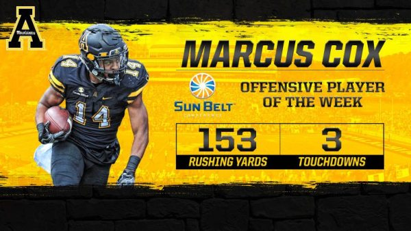 Marcus Cox was named the Sun Belt's Offensive Student-Athlete of the Week after his impressive performance against UL Monroe. Courtesy: Appalachian State Athletics