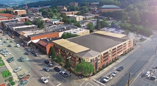 Rendering of the conceptualized project for the Marketplace shopping center and parking lot in downtown Boone.