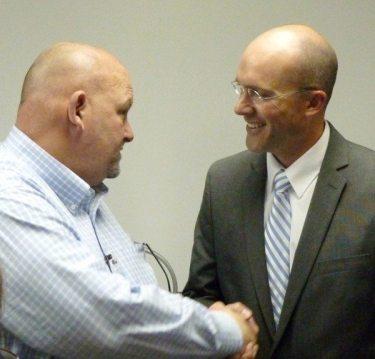 Watauga High School Principal Marshall Gasperson (at left) and WCS Supt. Dr. Scott Elliott