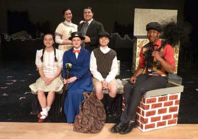 Mary Poppins Cast. Front row: Rachel Sabo-Hedges (Jane); Lucy Edy (Mary Poppins); Spencer Ball (Michael); R.J. Christian (Bert) Back row: Jill Turner (Mrs. Banks); Jordan Perzell Mandell (Mr. Banks). Submitted by Watauga High.
