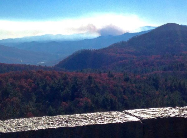 """Yesterday, a Sunday drive on the Blue Ridge Parkway included """"scenic views"""" of local wildfires. This photo is from the Bear Den Mountain Overlook near the Orchard at Altapass. The view showed what's believed to be the Piney Mountain Fire in the Curtis Creek area of McDowell County. Photo by Randy Johnson"""