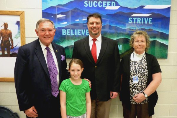 Mabel student Madison Welch is shown with Edmisten, Hagaman, & Sperry.