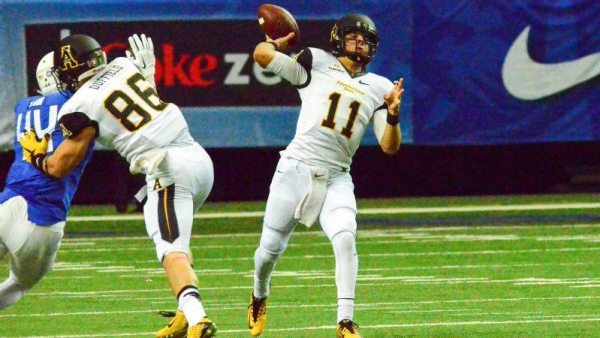Taylor Lamb threw for a season-high 291 yards and three touchdowns in the Mountaineers' dominant 37-3 victory over Georgia State in Saturday's Sun Belt opener at the Georgia Dome. Photo courtesy: Allyson Lamb / App State Athletics