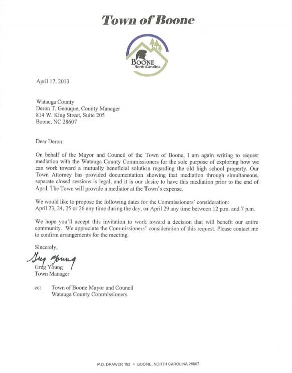 Town of Boone Letter April 17