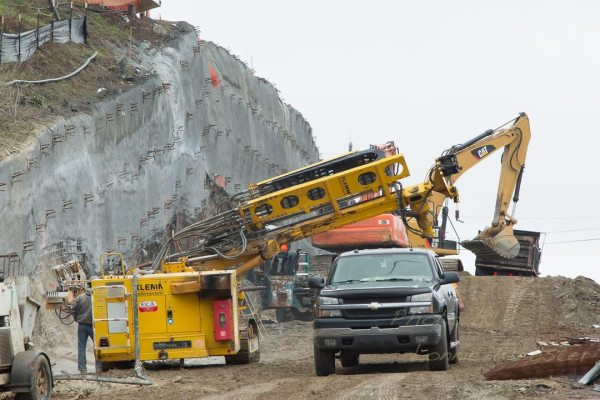 Some of the heavy blasting of rock that occurred in the spring of 2013. Photo by Lonnie Webster