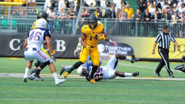 Junior running back Marcus Cox rushed for 105 yards and one touchdown on just 11 carries, including a 68-yard touchdown in the second quarter of Appalachian State's 49-0 win over Howard. Courtesy: Keith Cline