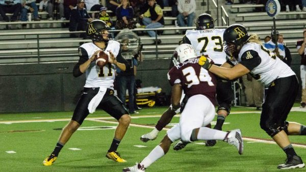 Taylor Lamb threw for 261 yards and ran for a career-high 103 yards to lead Appalachian State to a 59-14 rout over ULM on Saturday night. Courtesy: Allyson Lamb / App State