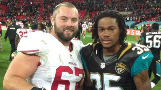 Former Mountaineer stars Daniel Kilgore (67) and Demetrius McCray (35) squared off at Wembley Stadium in London, England on Sunday. Kilgore's 49ers beat McCray's Jaguars, 42-10. Courtesy: Demetrius McCray (via Instagram)