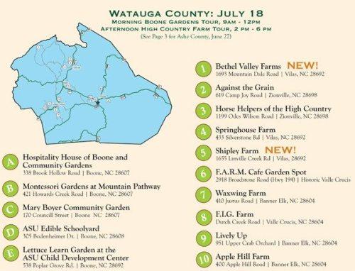 Watauga Farm Tour Map