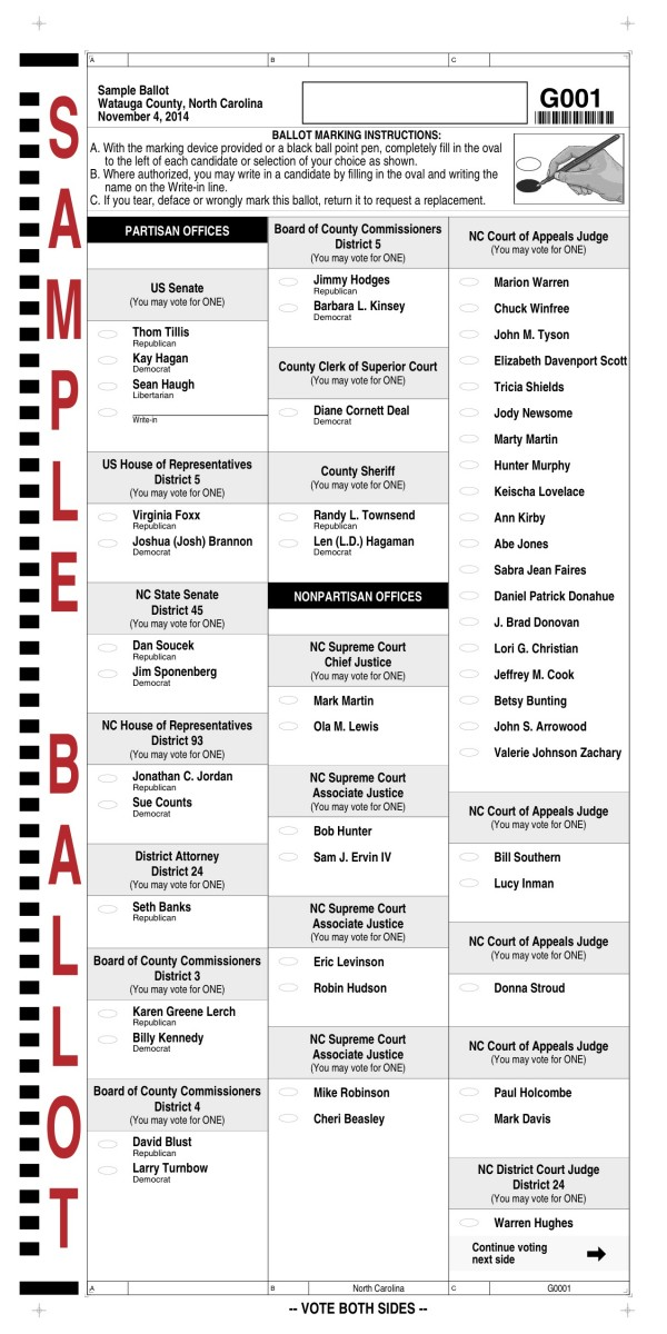 State BOE Releases Sample Election Ballots, See Watauga's