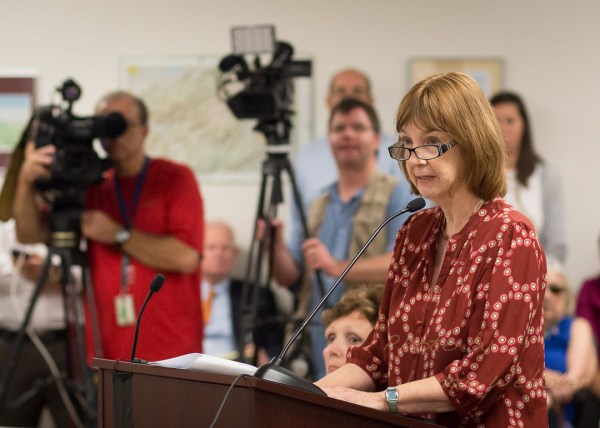 Kathleen Campbell speaks before the State Board in 2013. Photo by Lonnie Webster