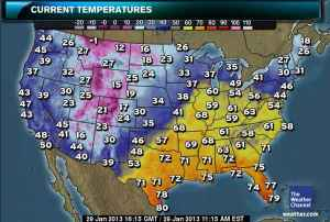 The entire Southeastern U.S. and portions of the Midwest are experiencing unusually high temperatures today. Map courtesy of The Weather Channel