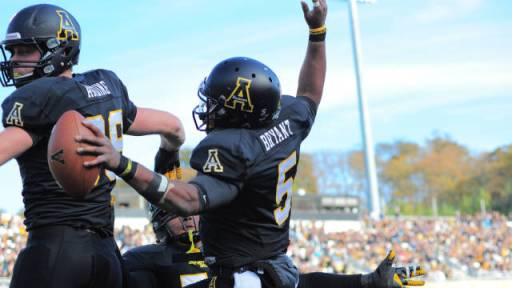 Kam Bryant celebrates rushing touchdown. Photo courtesy of App State Athletics/Keith Cline