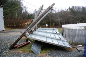 Extreme winds damaged several billboards in late December. Photo by Ken Ketchie