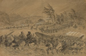 This drawing from the Library of Congress helps illustrate the harsh conditions that affected health, troop movement and even battle outcomes during the Civil War. Appalachian State University professors Timothy Silver and Judkin Browning have received a research fellowship to illustrate the war's disruptive influence on the relationships between people and nature, and how natural factors such as disease, malnutrition and weather helped shape the course of the war. (Image from Library of Congress)