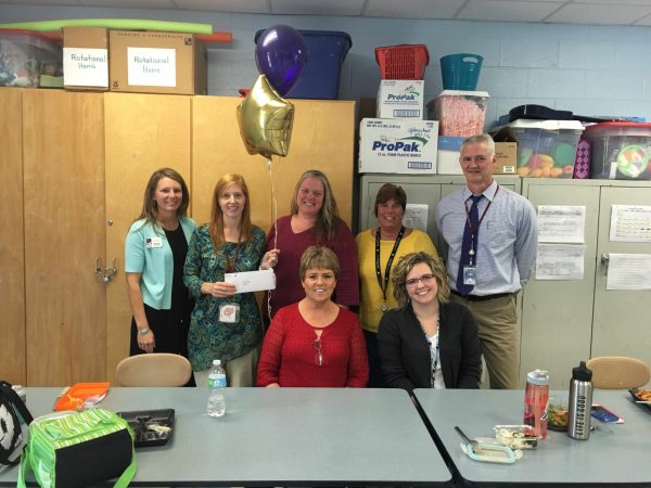 Front: Debbie Norris, Madison Hollar Back: Marta Kim McAuley, Christy Laws, Cynthia Townsend, Cove Creek Principal Cone