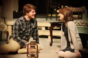 """Appalachian State University junior performance majors Luke Schaffer and Laura Strausbaugh play Laura Wingfield and Jim O'Connor, Wingfield's """"gentleman caller"""" in Tennessee Williams' classic play """"The Glass Menagerie.""""  Produced by the Department of Theatre and Dance, performances run Feb.13-17 in Valborg Theatre on campus. Photo by Natalie Carpenter"""