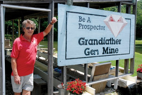 Bill Wilkinson opened the oldest gem mine in the county in 1984 to compliment the trout farm he opened a year earlier The mine is set on the grounds of the trout park making for a pretty location surrounded by lakes where customers can also go fishing for trout. There's something for the whole family at Grandfather Trout Farm.