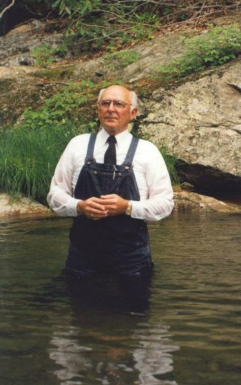 The Rev. Billy Warren is pictured in a spot where he frequently baptized church members in Valle Crucis.