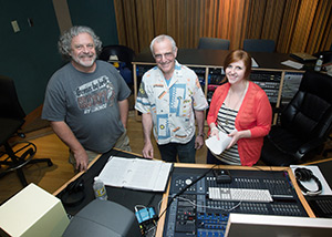 Jeff Lindsay, left, author of the Dexter crime novel series, has narrated two of his novels for Random House audiobooks at the Gilley Recording Studio in Appalachian State University's Hayes School of Music. Also pictured are producer David Rapkin and recording engineer Iris McElroy, a 2010 graduate of Appalachian's music industry studies program.