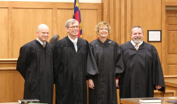 Four incumbent Judges for the 24th Judicial District - Greg Horn, Hal Harrison, Becca Eggers-Gryder and Ted McEntire - were sworn in at the Avery County Courthouse on January 1, 2017.