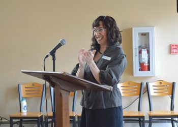 Karen Sabo addresses the crowd at the recent Women's Fund of the Blue Ridge grantee luncheon in Blowing Rock. Photo by Jessica Isaacs.