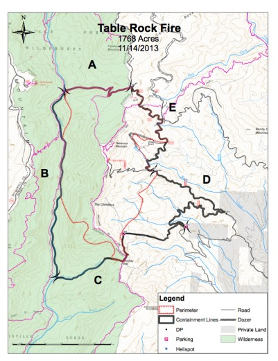 Map of the Table Rock Fire