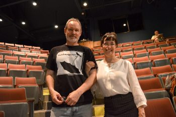 Derek Davidson and Karen Sabo are pictured in the Valborg Theatre at Appalachian State University during a rehearsal for <i>Mauzy</i>.