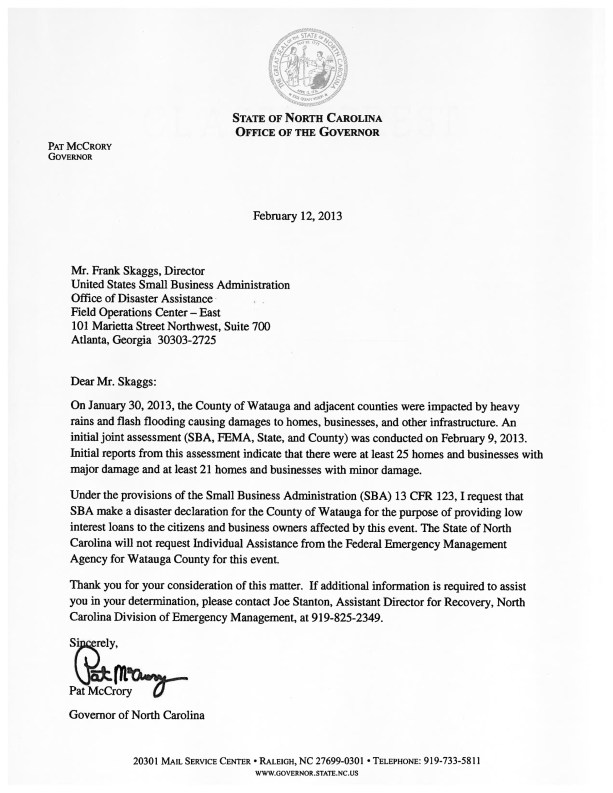 gov  mccrory sends letter to u s  small business