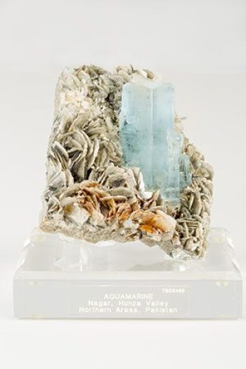 This aquamarine nestled in a bed of mica is from Pakistan. Photo credit: Marie Freeman.
