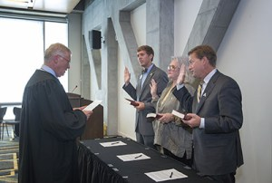 Dylan Russell (far left), and newly appointed or reappointed members of ASU's Board of Trustees swearing in in June. Photo by Marie Freeman, Courtesy of ASU News