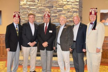 Pictured (from left) are Shriner George Wilcox, Chetola's Kent Tarbutton, Shriner Potentate Johnny King, Blowing Rock Mayor Pro Tempore Albert Yount, Retired Army Major General Chuck Swannack and Shriner Bill Carter at the recent press conference.