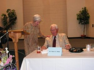 Agnes and Robert Shipley at a surprise event in 2007, announcing an educational endowment in the name of the Shipleys