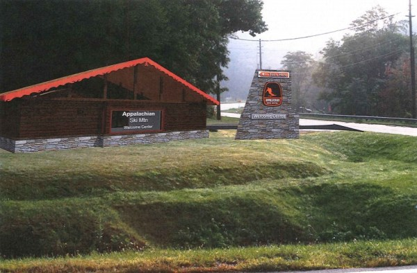 A artistic rendering of the proposed welcome center and freestanding sign at the corner of Edmisten Road and U.S. 321.