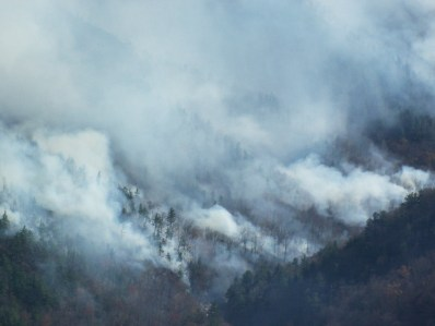 The Linville Gorge fire on Thursday afternoon. Photo courtesy U.S. Forest Service