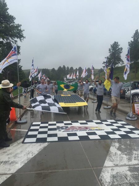 Team Sunergy's Apperion crosses the finish line of the American Solar Challenge in sixth place overall, and in second for the final stage of the 1,975-mile road race. Photo by Lee Ball.