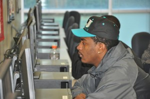 CCC&TI student Tyree Griffin takes advantage of online services in the Academic Support Center on the Caldwell Campus.