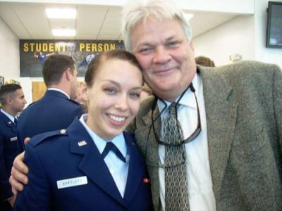 David Bartlett, owner of the Speckled Trout in Blowing Rock and one proud daddy, is standing next to his daughter, Sara, who is now a commissioned officer in the U.S. Air Force.