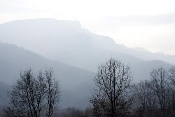 Grandfather Mountain amidst a smoky haze from the wildfires on Wednesday. Photo by Ken Ketchie