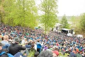 Fans pack the hillside to hear the featured classic rock album selected for Hillside Album Hours. Photo courtesy of MerleFest.