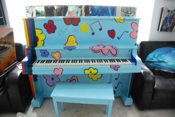 One of six pianos that have been decorated to add color and community fun to Banner Elk. Photo by Ken Ketchie.